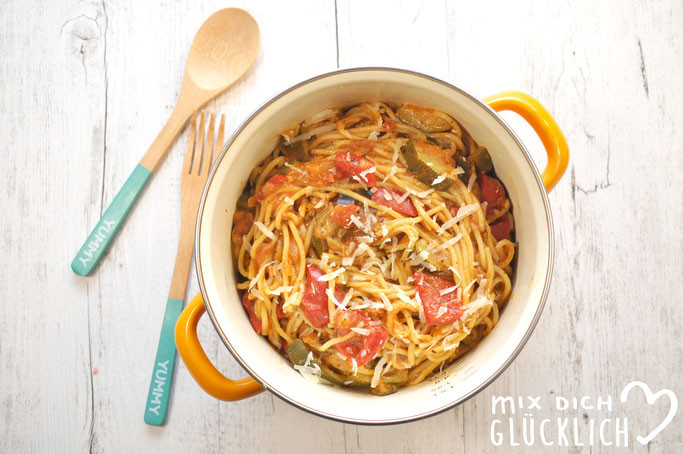 One Pot Pasta Ratatouille Spaghetti aus dem Thermomix vegan