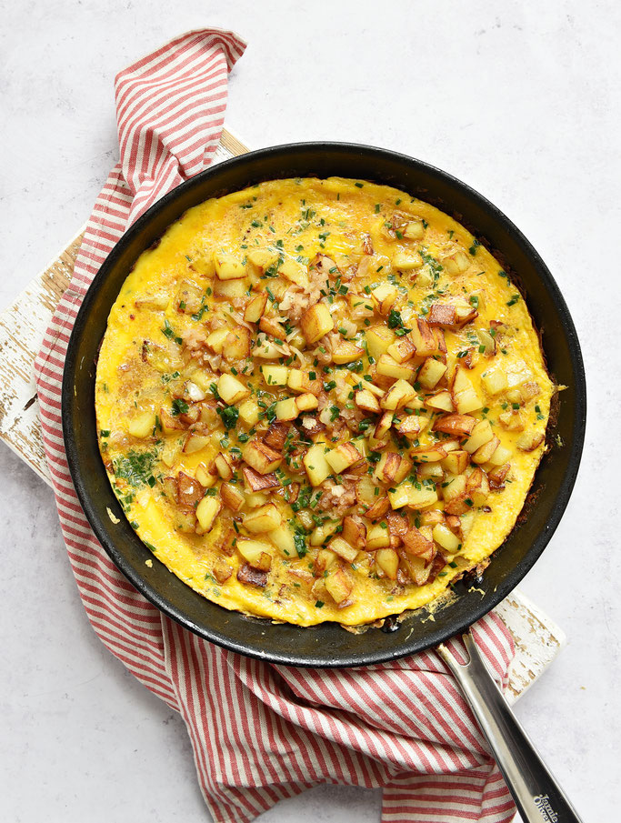 Kater-Frühstück mit Bratkartoffeln und Ei