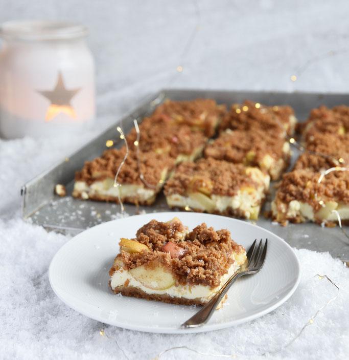 Spekulatius Quark Streuselkuchen mit Apfel, weihnachtlicher Streuselkuchen vom Blech, vegan möglich, Thermomix