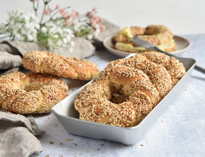 Türkische Sesamkringel, Sesamringe, Simit, Thermomix, vegan