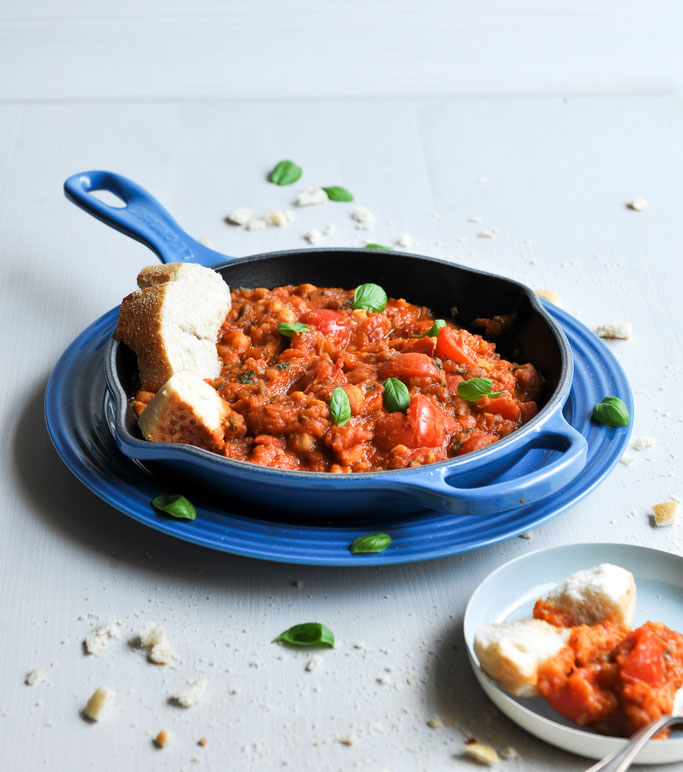Tomaten Auberginen Ragout, orientalische Vorspeise, Meze, vegetarisch, vegan