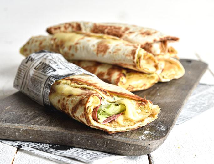 Tortilla Wrap mit eingebackenem Omelette