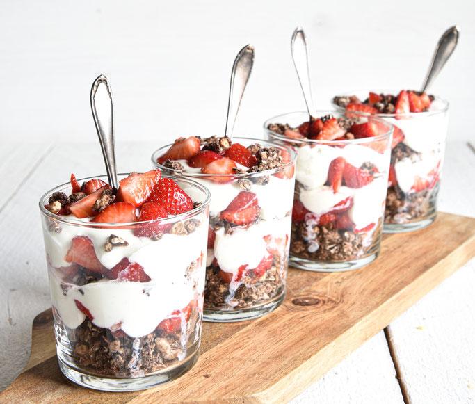 Erdbeer Crunch als Desert oder Frühstück