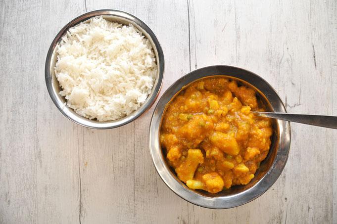 Aloo Gobi aus dem Thermomix indisches Kartoffel Blumenkohl Curry vegan