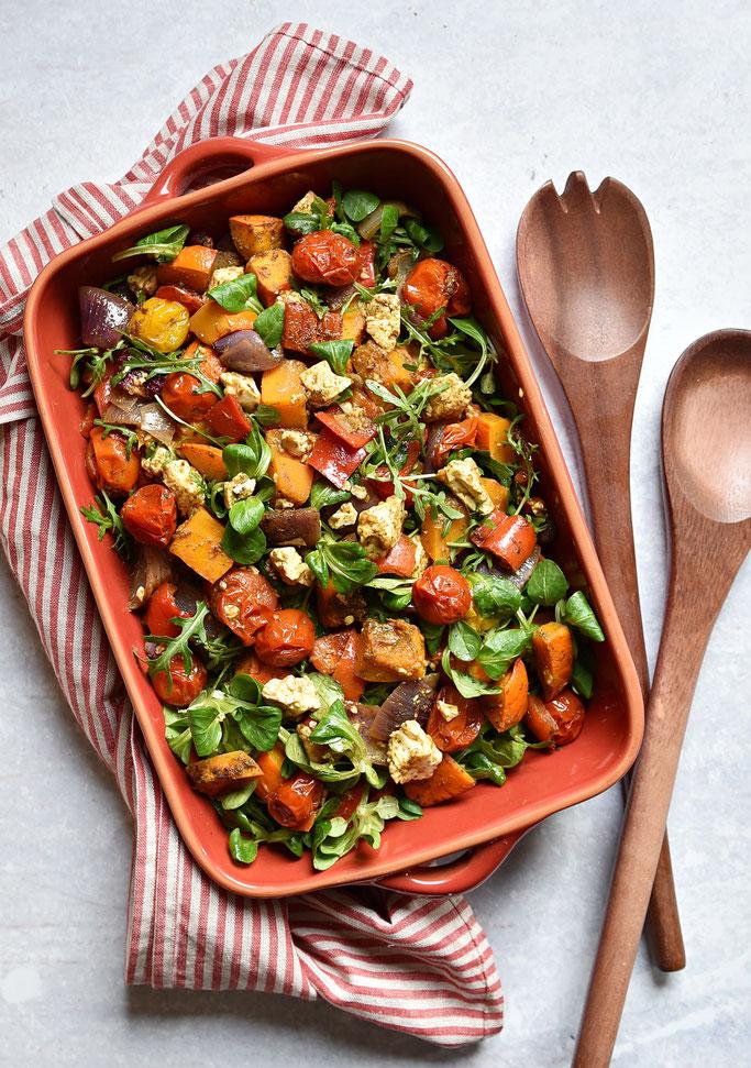 Ofengemüse Salat mit Kürbis und Feta, Thermomix, vegetarisch