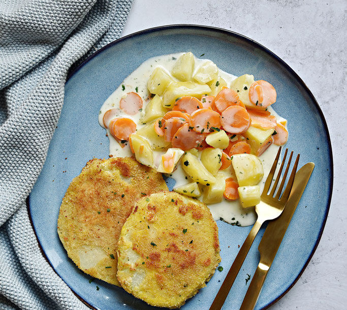 Kohlrabi Schnitzel mit Möhren und Kartoffeln in Frischkäse Soße, Thermomix