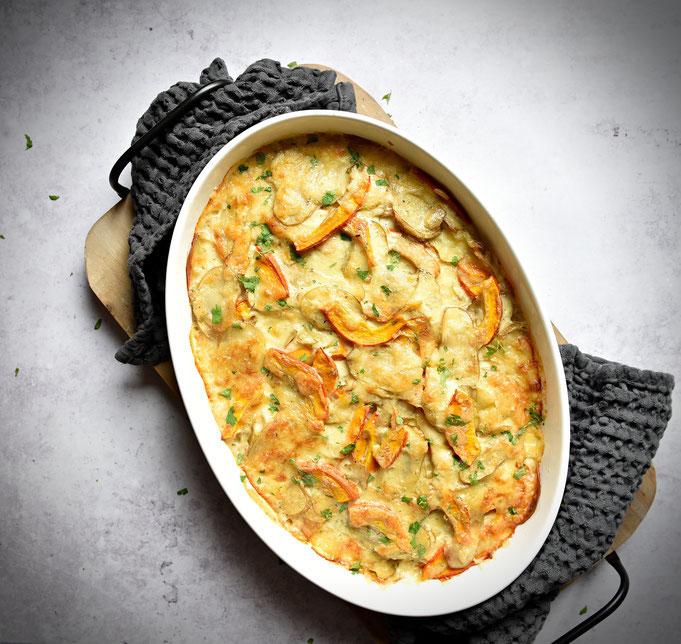 Kartoffel Kürbis Gratin, vegetarisch, Thermomix