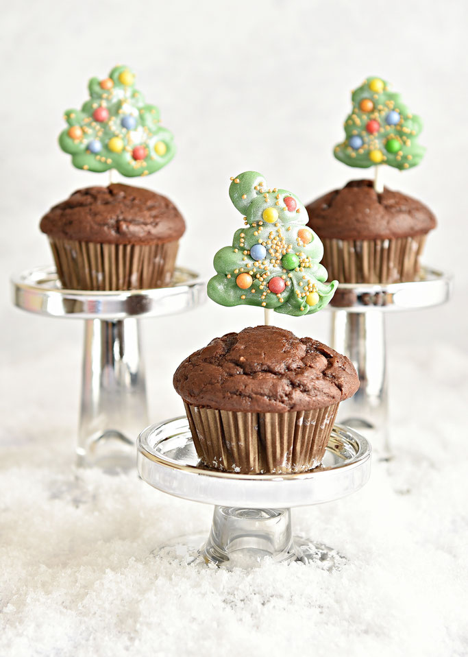 X-Mas Muffins mit Schoko Bäumchen