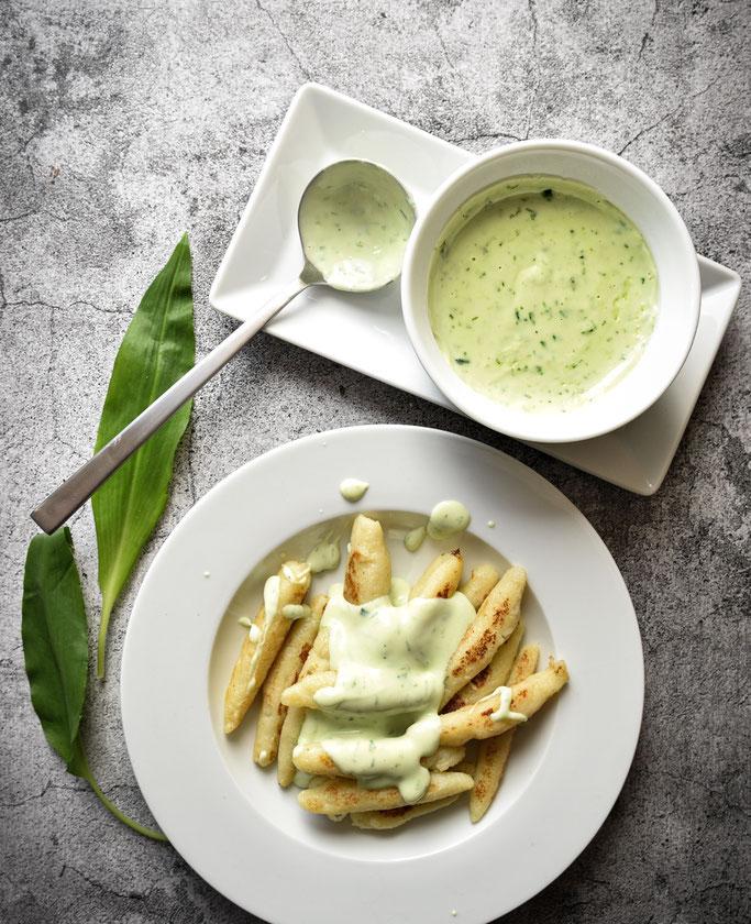 Bärlauchsoße zu Pasta, Gnocchi oder Schupfnudeln, Thermomix