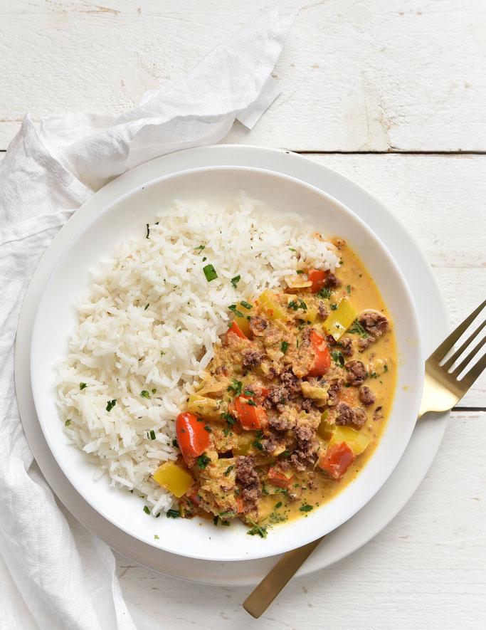 Lauch Ajvar Hack Soße zu Reis, Thermomix, vegetarisch, vegan machbar