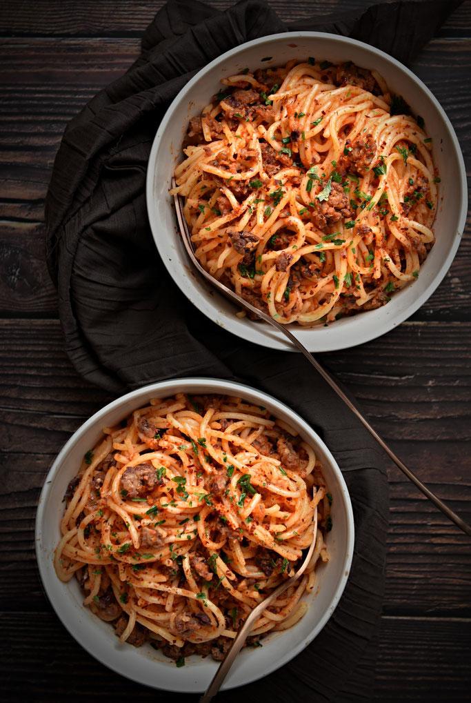 Pasta Diabolo mit Hack und Chili, vegetarisch und vegan machbar, Thermomix