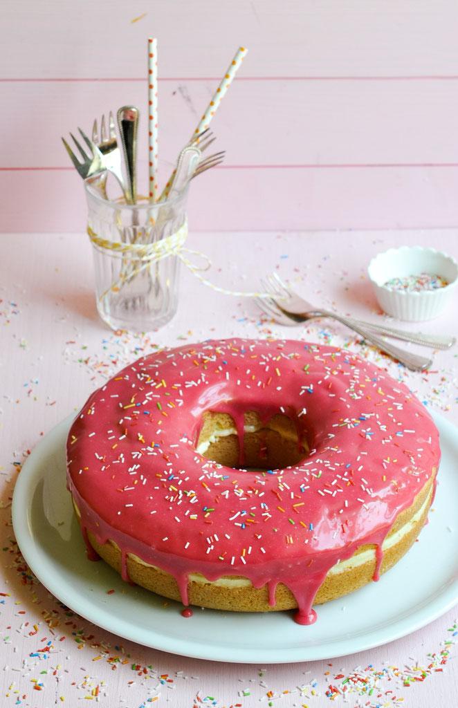XXL Donut als Geburtstagskuchen, Thermomix, vegan möglich