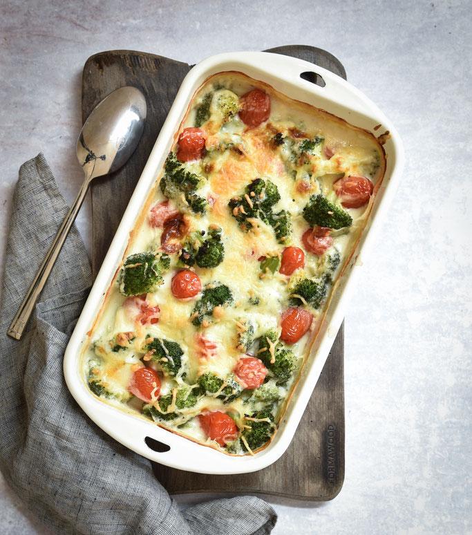 Brokkoli Gratin mit Tomaten, vegetarisch, vegan möglich, Thermomix