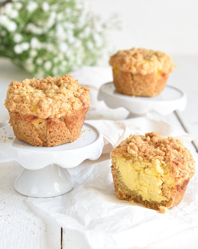 Streusel Muffins Käsekuchen, vegan möglich, Thermomix