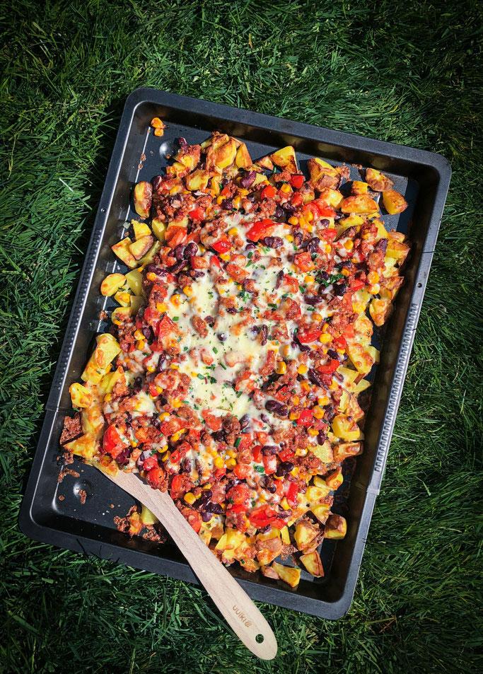 Kartoffelblech Chili con Carne bzw. sin Carne, Thermomix