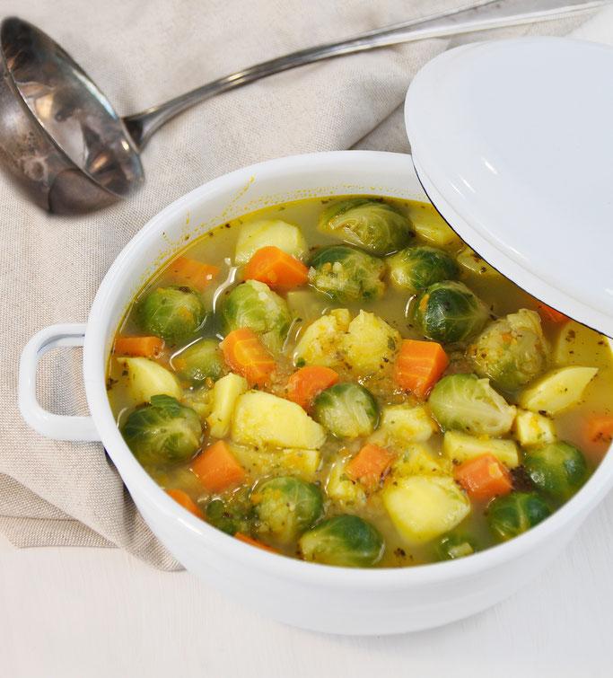 Rosenkohl-Eintopf mit Möhren, vegetarisch, vegan, Thermomix