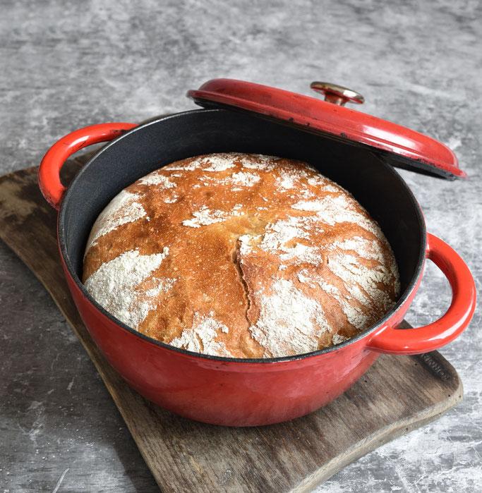 Topf Brot, ohne Kneten, über Nacht, für Anfänger geeignet, ganz einfach, Thermomix