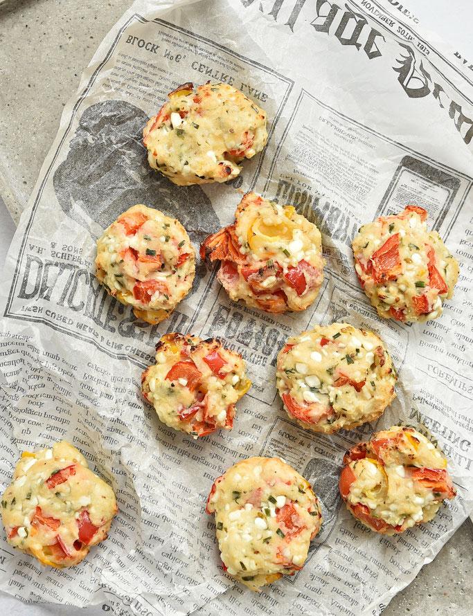 Hüttenkäsetaler mit Paprika, als Snack, Beilage oder zu Salat, Thermomix