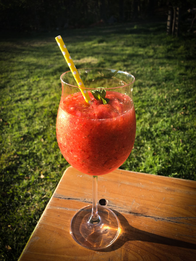 Erdbeer Mojito Slushie mit Rum, Thermomix, alkoholfrei möglich