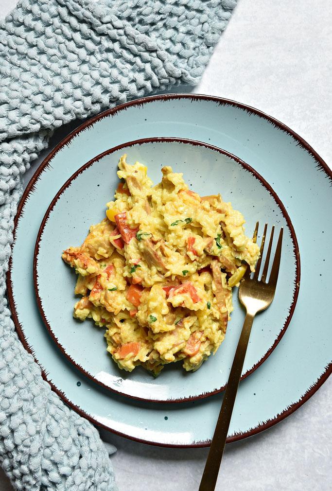 Curry Reis mit Gemüse und Geschnetzeltem, Thermomix