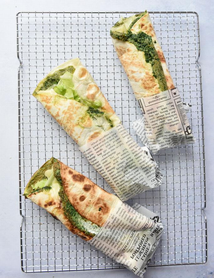 Tortilla Wrap mit eingebackenem Spinat-Omelette