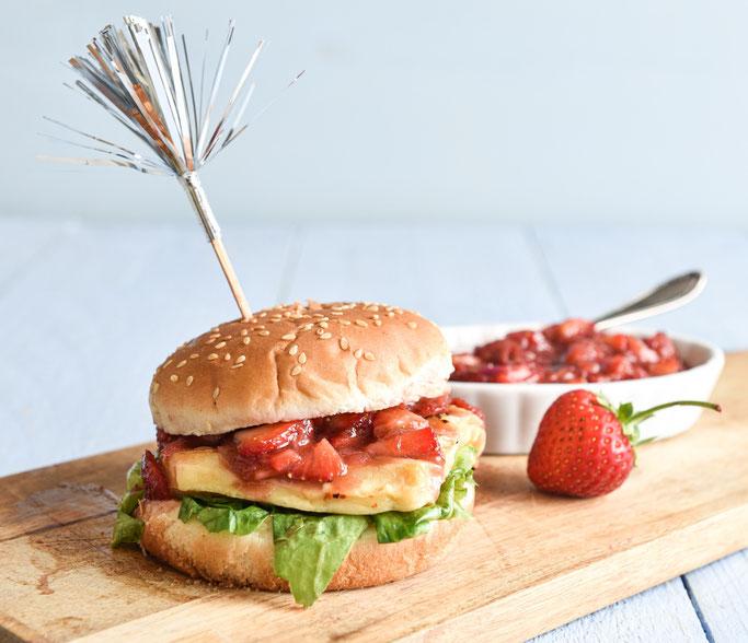Halloumi Burger mit Erdbeer Salsa Thermomix