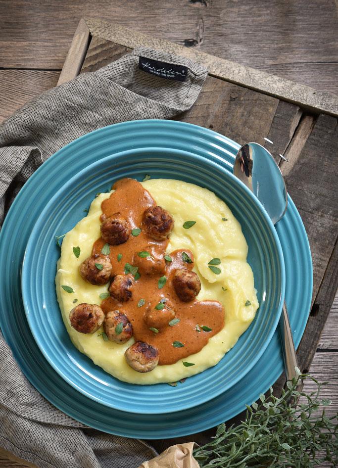 Kartoffelstampf mit Pilz-Rahm-Soße und Bratwurstklößen, vegetarisch, vegan machbar, Thermomix