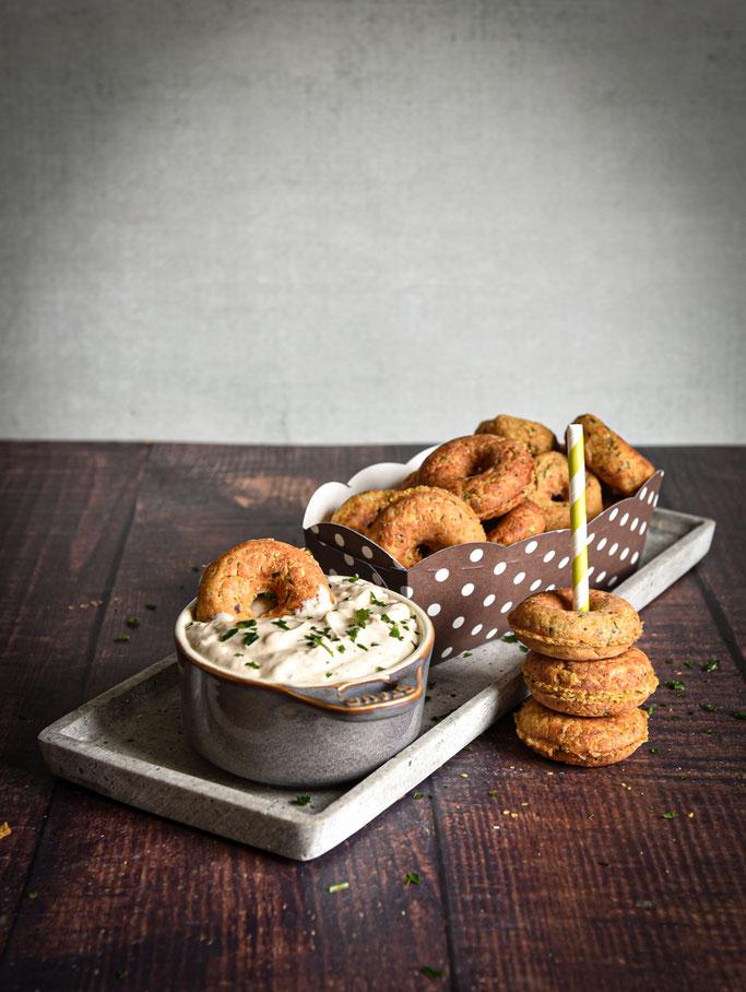 Falafel Donuts mit Tahin Dip, Thermomix, vegetarisch, vegan möglich