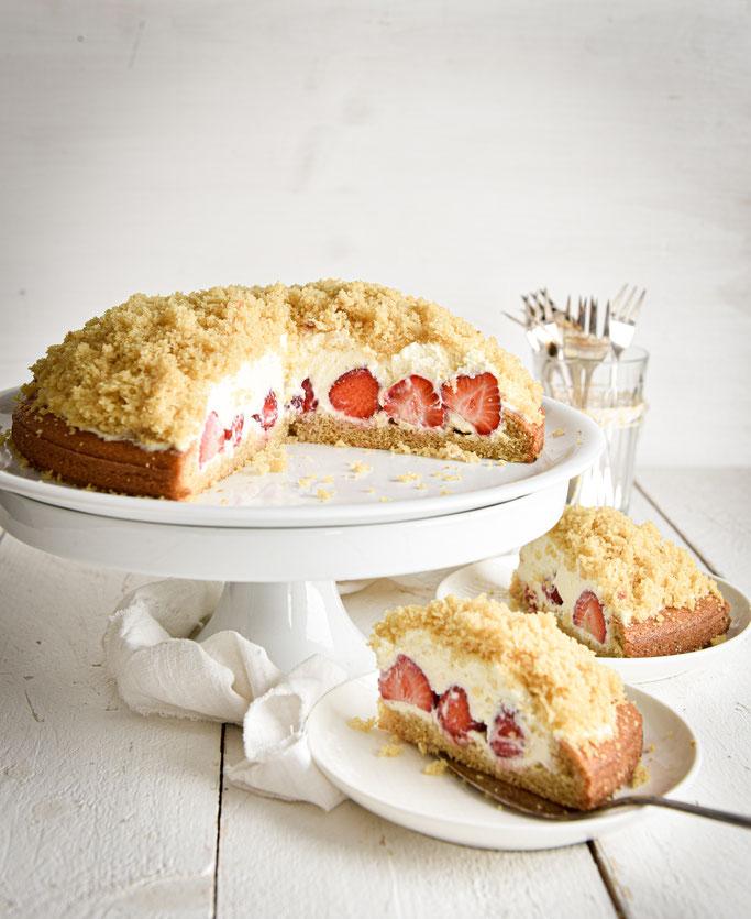 Maulwurfkuchen mit Erdbeeren, vegan möglich, Thermomix