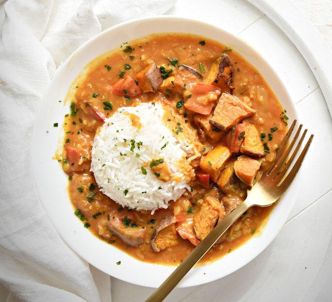 Linsen Curry mit gebackener Süßkartoffel, Thermomix