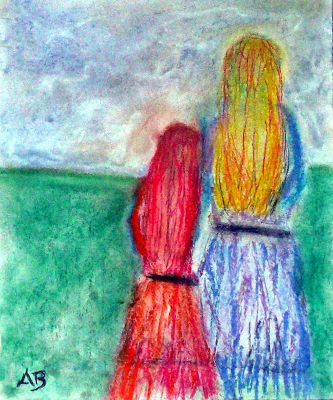 Mutter und Tochter, Pastellmalerei, Figurativ, Frau, Mädchen, feminale Malerei, People, Landscape, Pastellgemälde, Pastellbild