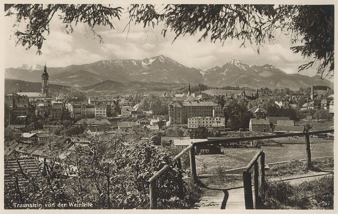 Die historische Aussicht der Weinleite auf einer alten Postkarte