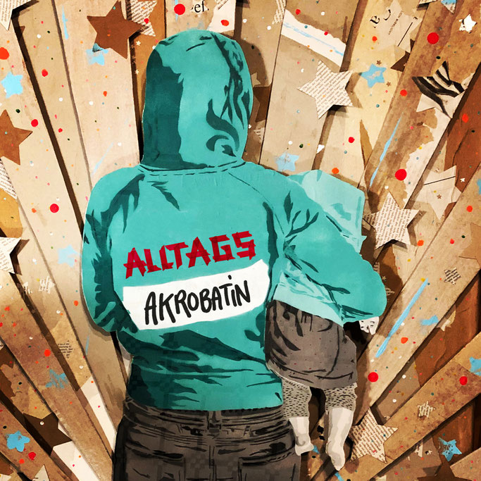 Alltags-Akrobatin - 3D-Collage mit Sprühfigur / 2020
