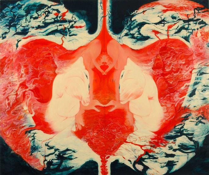 近藤聡乃「果肉」(2008年) リンゴのような果実半分に割るとその中に子宮や女性器、自分の顔が見えてきたのかもしれない。