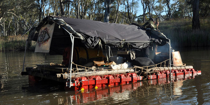 Soong Ro Ger builds raft and launches, Wimmera River NW Victoria, October 2013