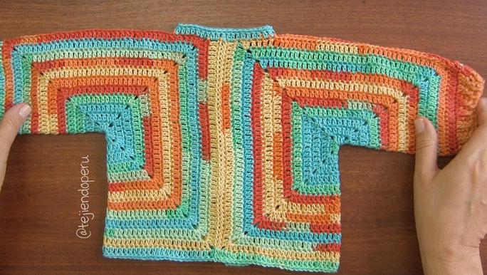 Chaquetas de dos hexágonos tejidas a crochet