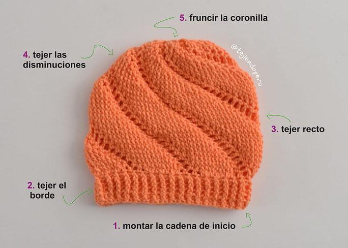 Gorro remolino unisex tejido a crochet imitación 2 agujas
