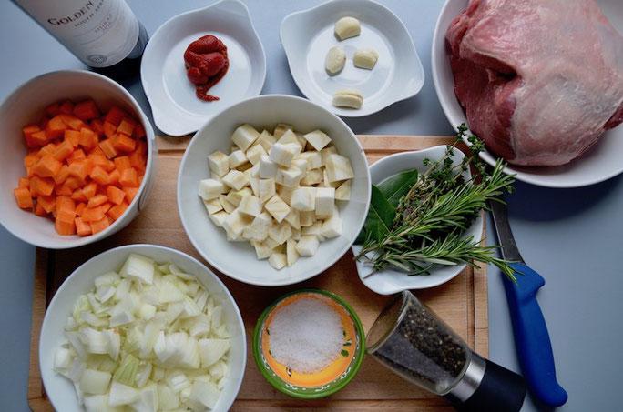 Zutaten für den Lammbraten-Osterbraten