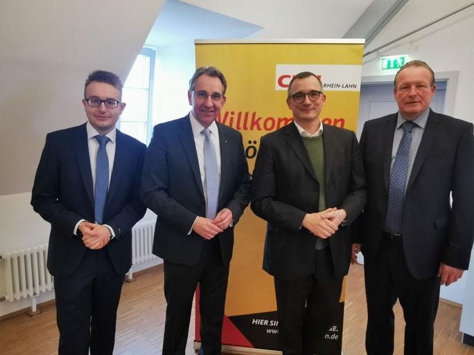 v.l.n.r.: Maximilian Müller, Matthias Lammert (MdL), Ehrengast Prof. Dr. Andreas Rödder und Axel Fickeis