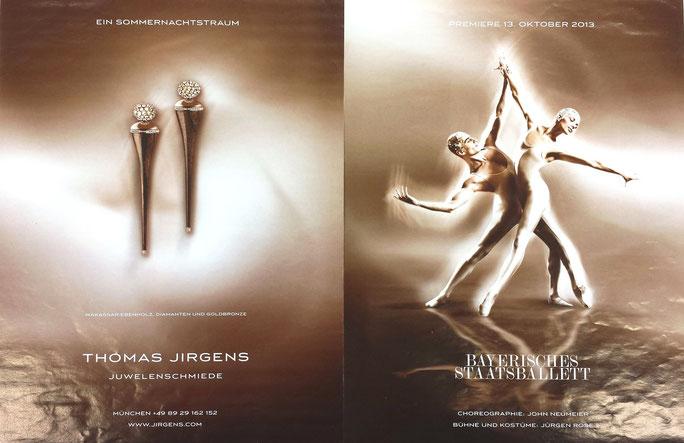 """Anzeigen-Kampagne Juwelier Thomas Jirgens zur Premiere der Ballett-Aufführung """"Ein Sommernachtstraum"""" des Bayerischen Staatsballett"""