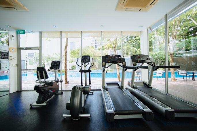 workout施設の他、テニス、スイミング、ジャグジーなどの施設も充実している
