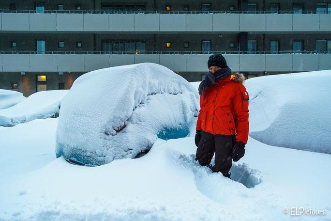 Neuschnee in Reykjavik, Island