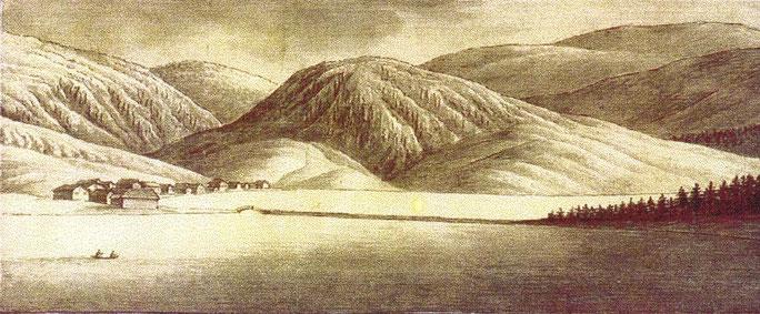 L'Aouille et le pont de la Goille vus par Escher en 1816