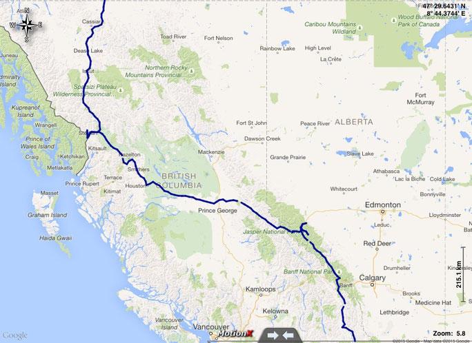 unsere gefahrene Route durch British Columbia und Alberta auf dem Rückweg von Alaska