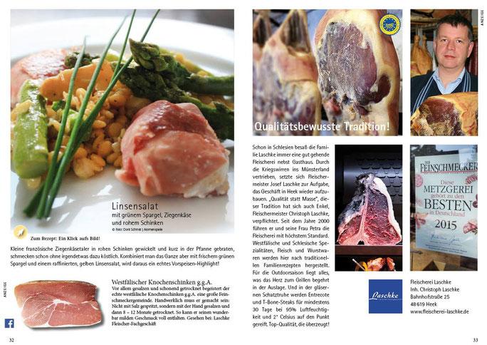 Seite 32/33 mit einem Artikel über unseren Knochenschinken