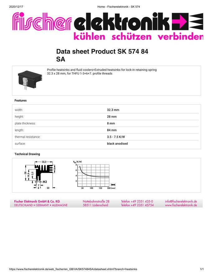 SK 574/84 SA Fischer /フィッシャー 押出成形ヒートシンク スプリング/クリップ取付用