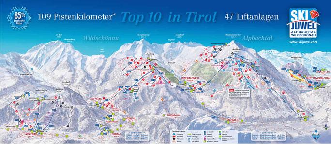 Pistenplan (+) Skijuwel Alpbach Wildschönau