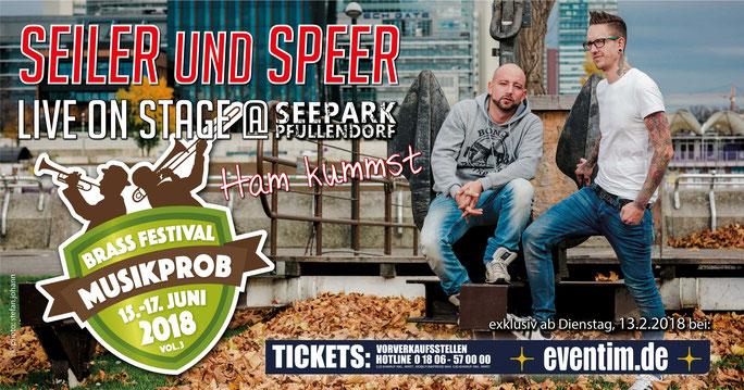 SEILER UND SPEER auf dem Brass & Blasmusikfestival Seepark Pfullendorf 15.-17. Juni 2018