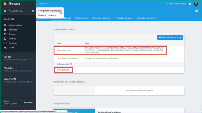 Vista consola Clave Servidor e ID remitente en Firebase
