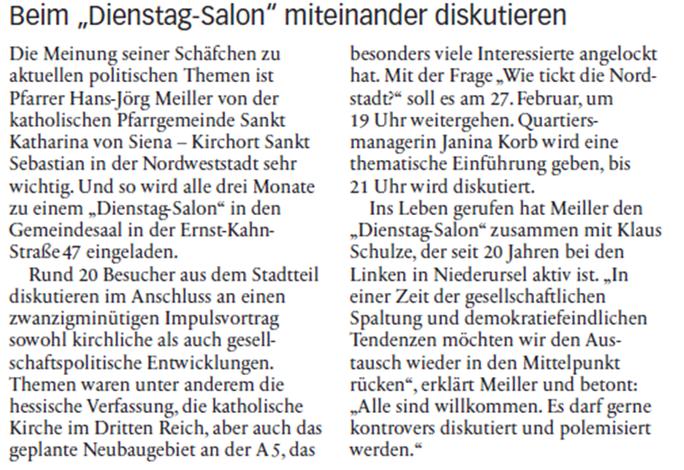 """DienstagSalon """"Wie tickt die Nordweststadt?"""" mit Janina Korb, Quartiersmanagerin"""